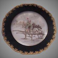 Haviland Limoges Garden Floral Scene Plate Pink Roses Cobalt Gold Trim