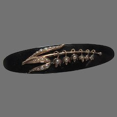 1877 Dated Black Onyx or Jet Brooch Bar Pin Gold and Seed Pearls