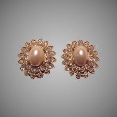 Kenneth Lane Signed Clip Earrings Rhinestones Costume Pearl