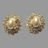 Faux Pearls & Rhinestones Dome Clip Earrings