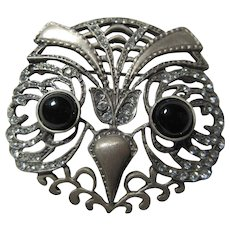 Sterling Silver Owl Pin Brooch Marcasites Signed