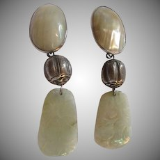 Old Oriental Design Clip Earrings Mabe Pearl Or MOP Carved Jade