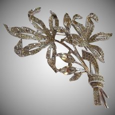 Rare Old Trifari Huge Rhinestone Brooch With Patent Number