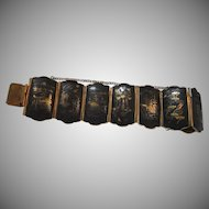 Japanese Damascene Bracelet 24K Gold Designs on Black