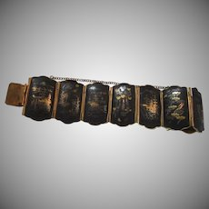 Japanese Damascene Bracelet 24K Gold Designs on Black