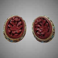 Red  Cinnabar Clip Earrings
