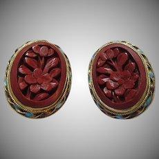 Chinese Cinnabar Clip Earrings