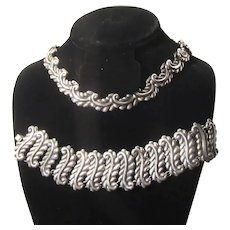 Sterling Silver Taxco Mexican Necklace Bracelet Signed Set