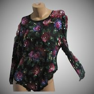 Laurence Kazar Black Silk Chiffon Beaded Sequin flowers  Blouse Vintage Evening Clothing