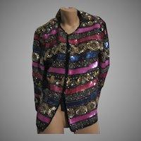 Laurence Kazar Beaded Sequin Jacket Black Pink Gold Silver Vintage Clothing