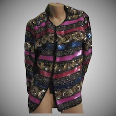 Laurence Kazar Beaded Sequin Jacket Black Pink Gold Silver Vintage Clothing