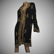 Black Silk Long Jacket Top Gold Beaded and Sequins Evening Vintage Clothing