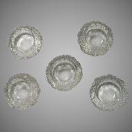 Set 5 Cut Glass Or Crystal Salts Salt Individual Bowls