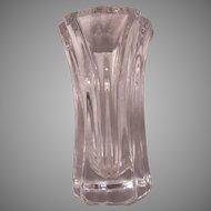 Orrefors Signed Numbered Lars Hellsten Swedish Glass Heavy Vase