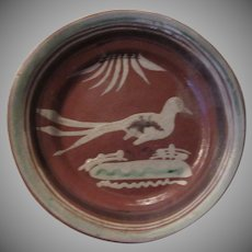 Old Mexico Terracotta Pottery Plate Hand Painted Bird