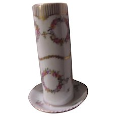 Signed  Porcelain Hatpin Holder