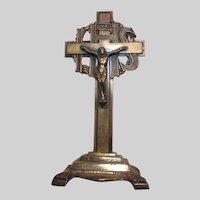 Copper Tone Metal Small Standing Crucifix
