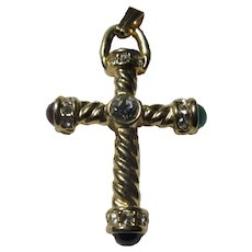 Gold Tone Cross Pendant Colored Stones Unusual