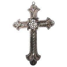 Silver Tone Metal Ornate Cross Pendant