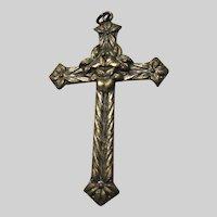Flower Design Cross Pendant Lords Prayer On Back