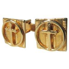 Gold Tone Metal Cross Cuff Links