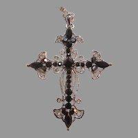 Silver Metal Black Glass Stones Cross Pendant