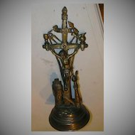 Standing Altar Crucifix  Skull Crossbones Hen Wheat Catholic Christianity Sacramental Cross