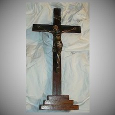 Standing Wood Crucifix Metal Corpus Fine Catholic Altar Cross