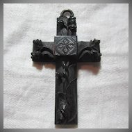 1800's Black Carved Jet Rare 2 Sided Cross Victorian Mourning Religious Christianity Sacramental