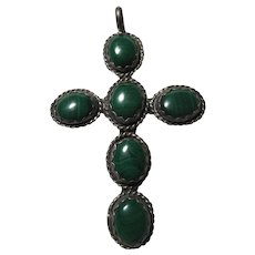 Sterling Silver and Malachite Cross Pendant