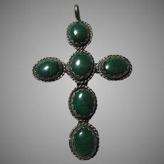 Sterling Silver and Malachite Cross Pendant