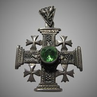 800 Silver Jerusalem Ornate Cross Pendant Green Stone