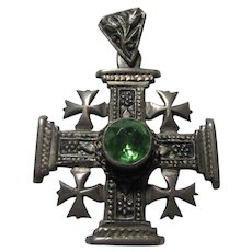 800 Silver Jerusalem Ornate Cross Pendant Green Stone
