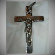 Old French Silver Nuns Priests Crucifix Large Cross