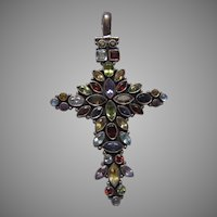 Sterling Silver Real Stones Elegant Cross Pendant