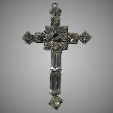Old Rhinestone Stanhope Cross Pendant