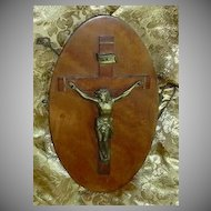 Vintage Signed Wall Crucifix Wood & Metal