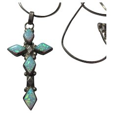 Sterling Silver Faux Opal Cross Pendant
