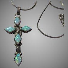 Sterling Silver Faux Opal Cross Pendant