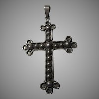 Sterling Silver Heavy Fine Decorative Cross Pendant