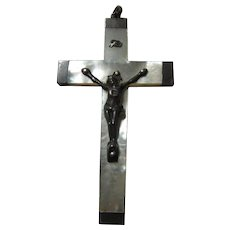Antique French 1887 Mother Of Pearl Crucifix Cross  First Communion