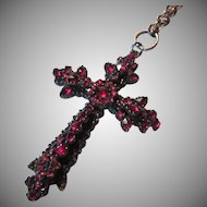 Victorian Watch Chain With Garnet Cross Gold Filled