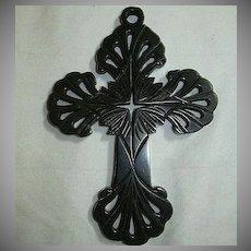 Antique Victorian Mourning Vulcanite Cross Pierced