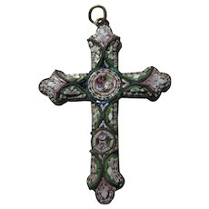 Old Italian Mosaic Cross Pendant