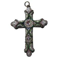 Old Italian Mosaic Cross Pendant