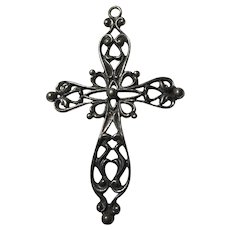 Old Danecraft Sterling Silver Ornate Cross Pendant