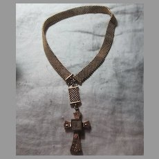 Victorian Gold Filled Cross Wide Chain Necklace