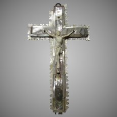 Mother of Pearl and Abalone Covered Carved Crucifix Cross Jerusalem