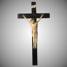 Antique French Carved Bone Corpus Christi Christ Folk Art Crucifix