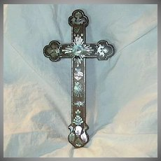 Antique French Wood Cross With MOP Mother Of Pearl Inlay